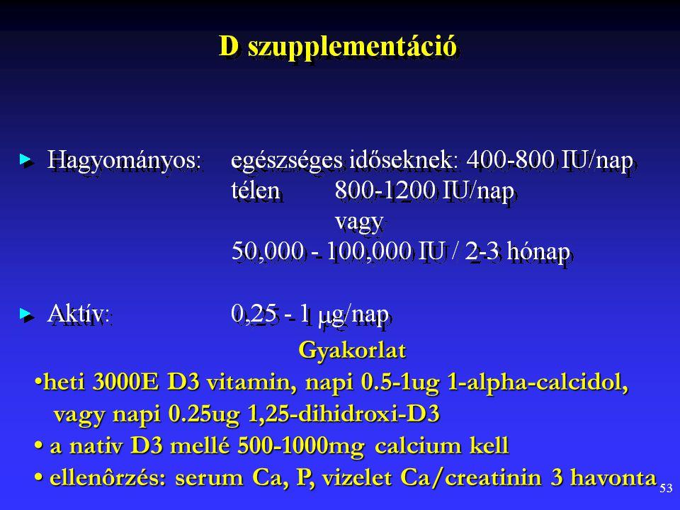 Gyakorlat heti 3000E D3 vitamin, napi 0.5-1ug 1-alpha-calcidol, vagy napi 0.25ug 1,25-dihidroxi-D3.