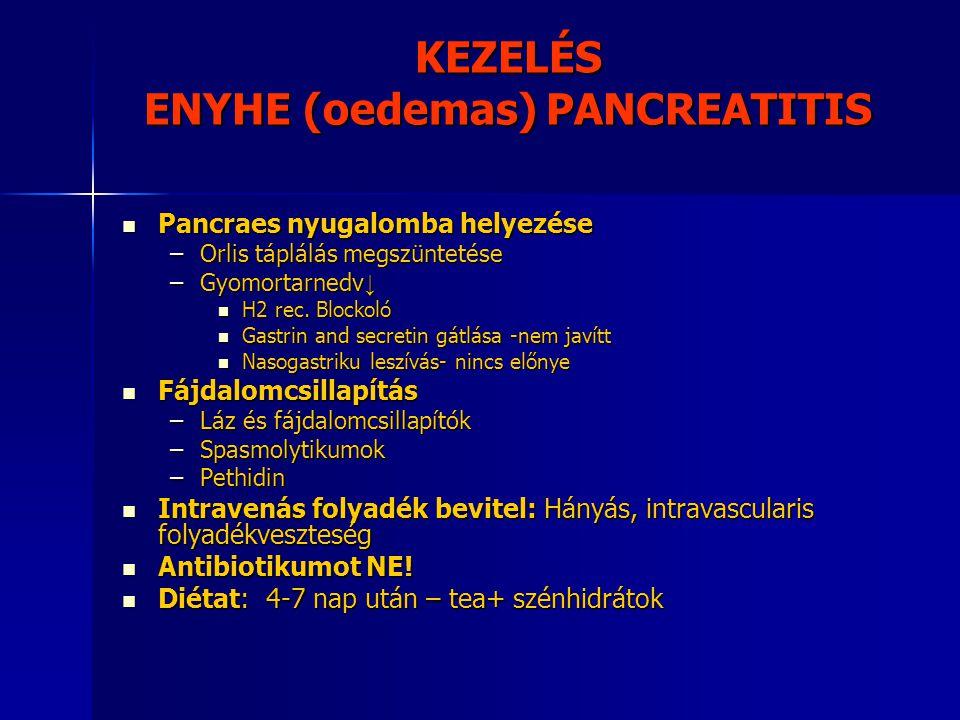 KEZELÉS ENYHE (oedemas) PANCREATITIS