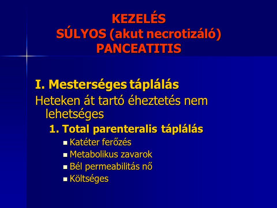 KEZELÉS SÚLYOS (akut necrotizáló) PANCEATITIS