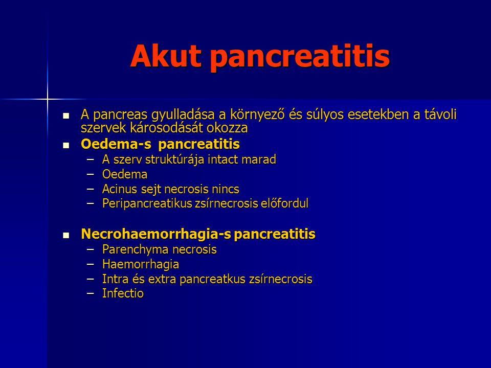 Akut pancreatitis A pancreas gyulladása a környező és súlyos esetekben a távoli szervek károsodását okozza.