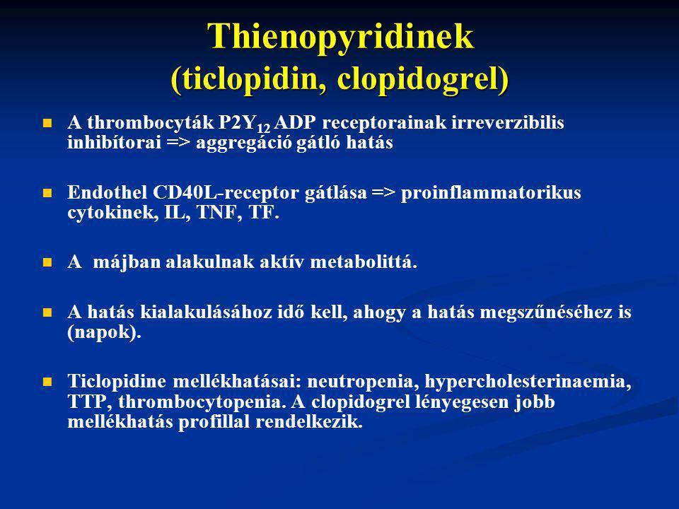 Thienopyridinek (ticlopidin, clopidogrel)