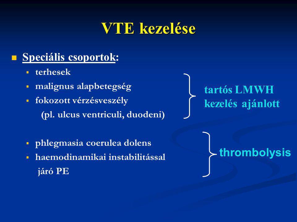 VTE kezelése Speciális csoportok: tartós LMWH kezelés ajánlott