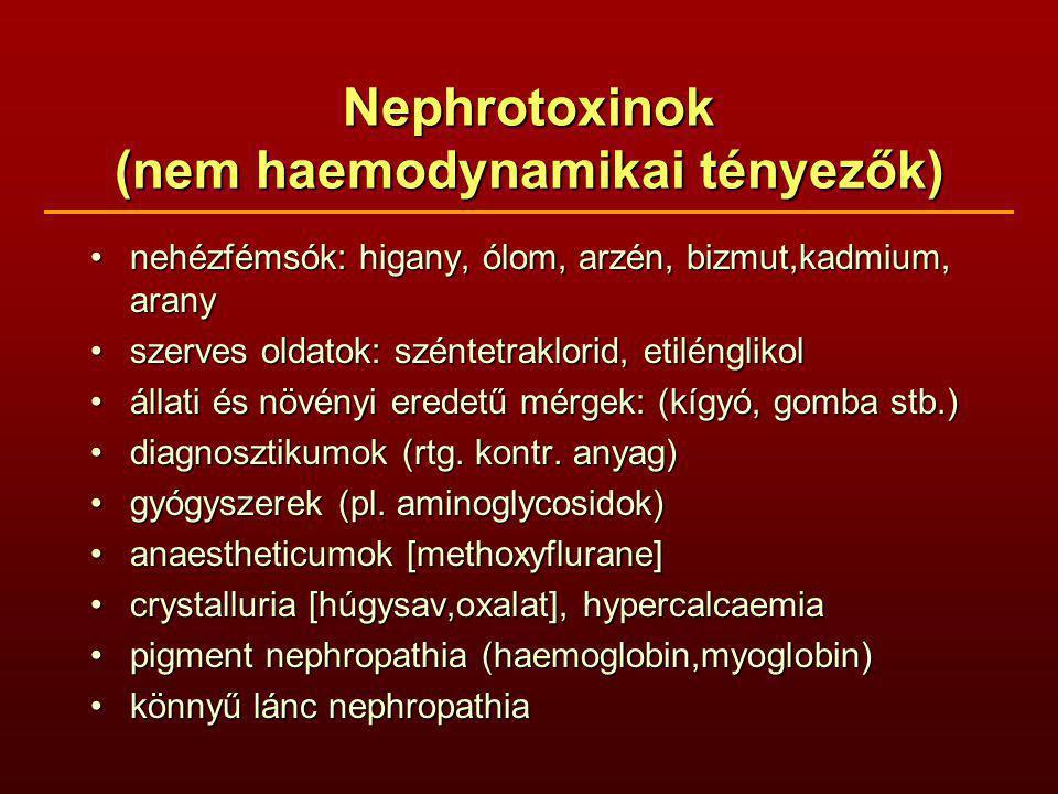 Nephrotoxinok (nem haemodynamikai tényezők)