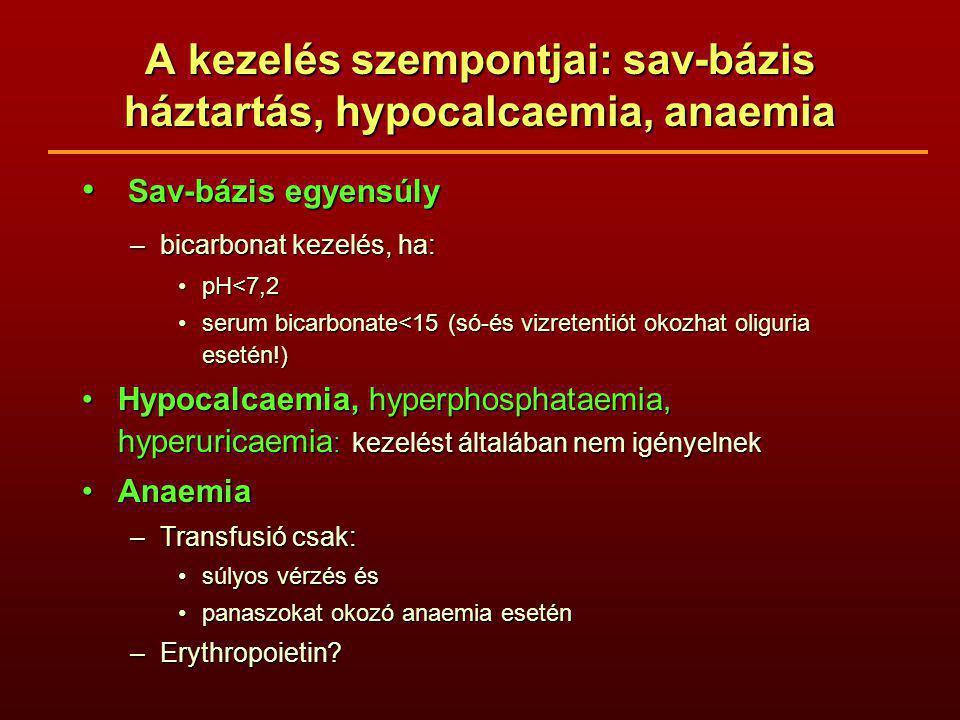 A kezelés szempontjai: sav-bázis háztartás, hypocalcaemia, anaemia