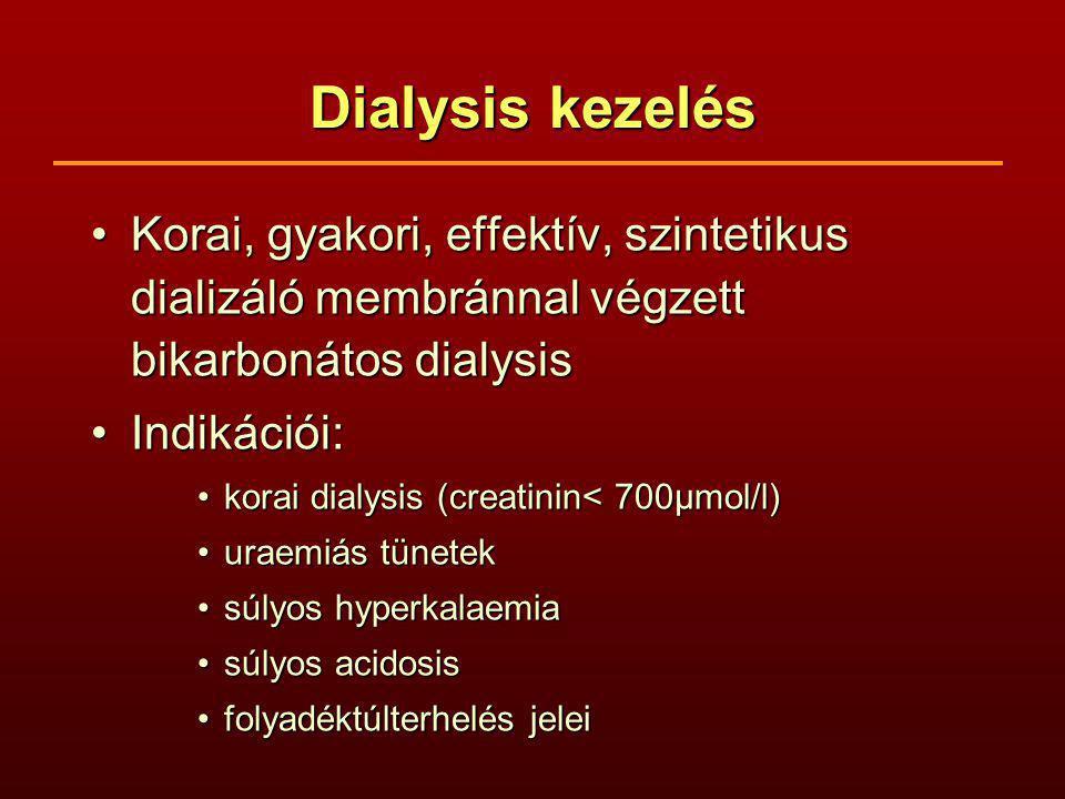 Dialysis kezelés Korai, gyakori, effektív, szintetikus dializáló membránnal végzett bikarbonátos dialysis.