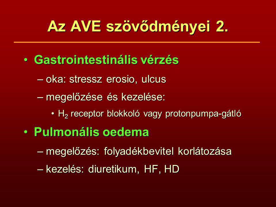 Az AVE szövődményei 2. Gastrointestinális vérzés Pulmonális oedema