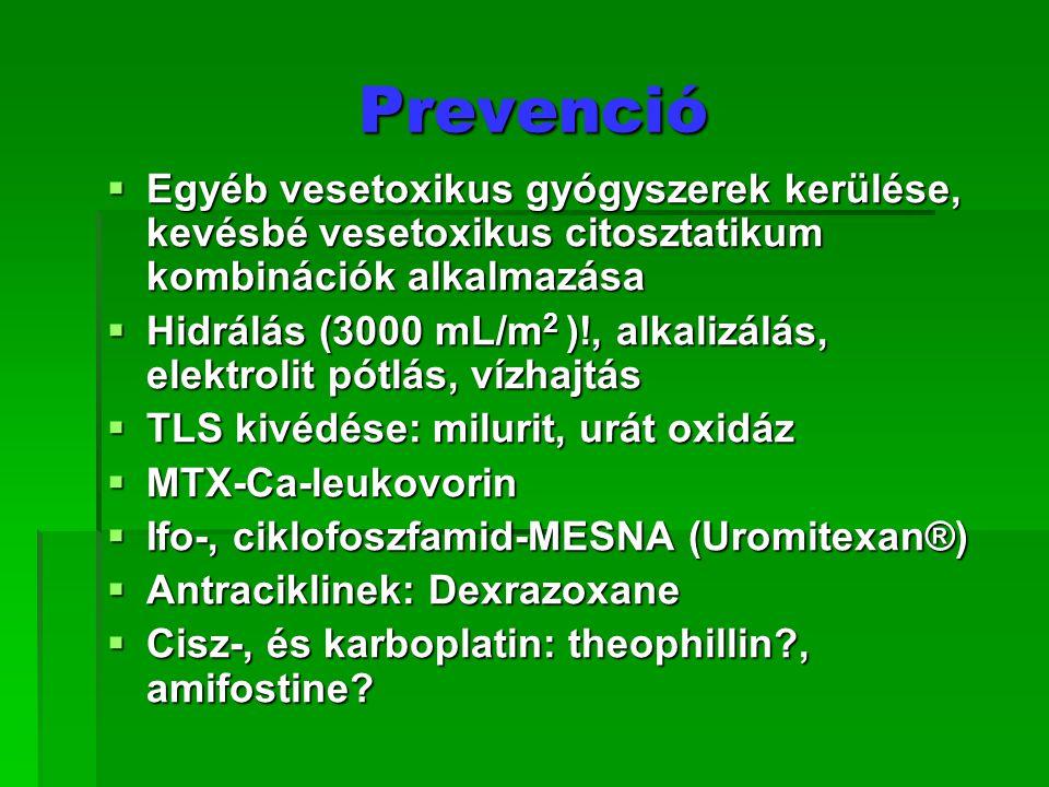 Prevenció Egyéb vesetoxikus gyógyszerek kerülése, kevésbé vesetoxikus citosztatikum kombinációk alkalmazása.
