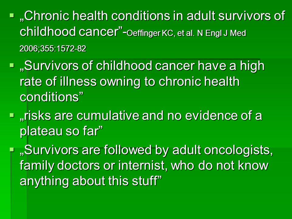 """""""Chronic health conditions in adult survivors of childhood cancer -Oeffinger KC, et al. N Engl J Med 2006;355:1572-82"""