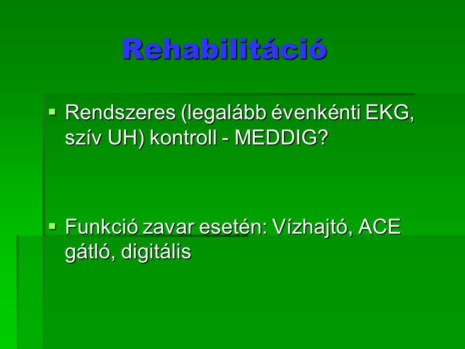 Rehabilitáció Rendszeres (legalább évenkénti EKG, szív UH) kontroll - MEDDIG.