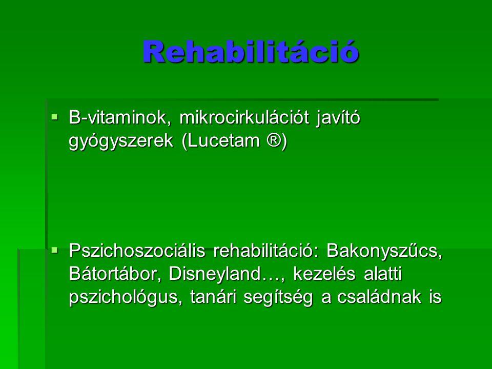 Rehabilitáció B-vitaminok, mikrocirkulációt javító gyógyszerek (Lucetam ®)