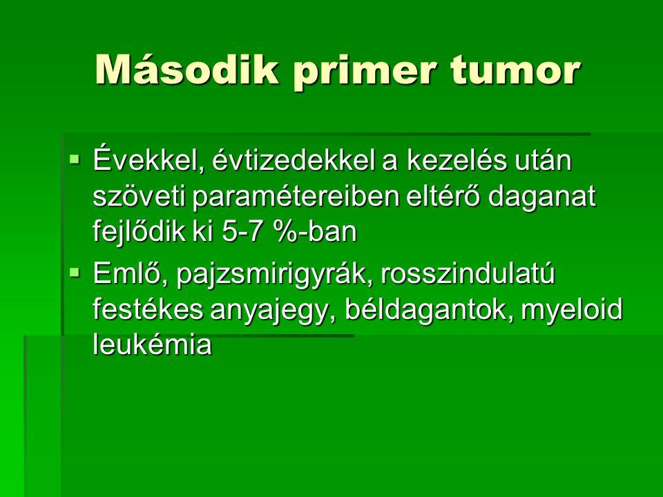 Második primer tumor Évekkel, évtizedekkel a kezelés után szöveti paramétereiben eltérő daganat fejlődik ki 5-7 %-ban.