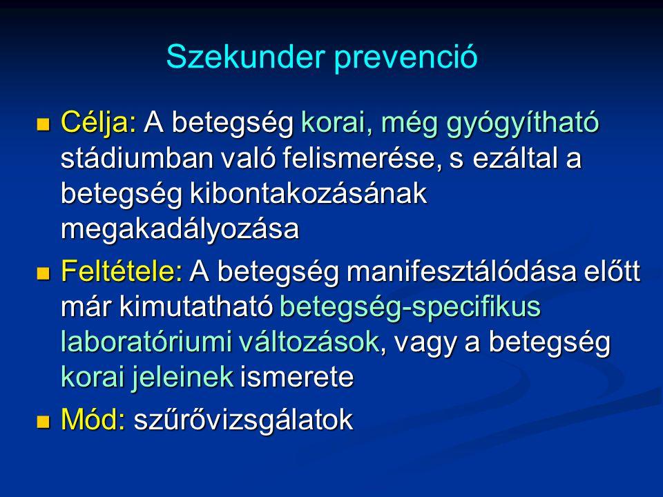Szekunder prevenció Célja: A betegség korai, még gyógyítható stádiumban való felismerése, s ezáltal a betegség kibontakozásának megakadályozása.