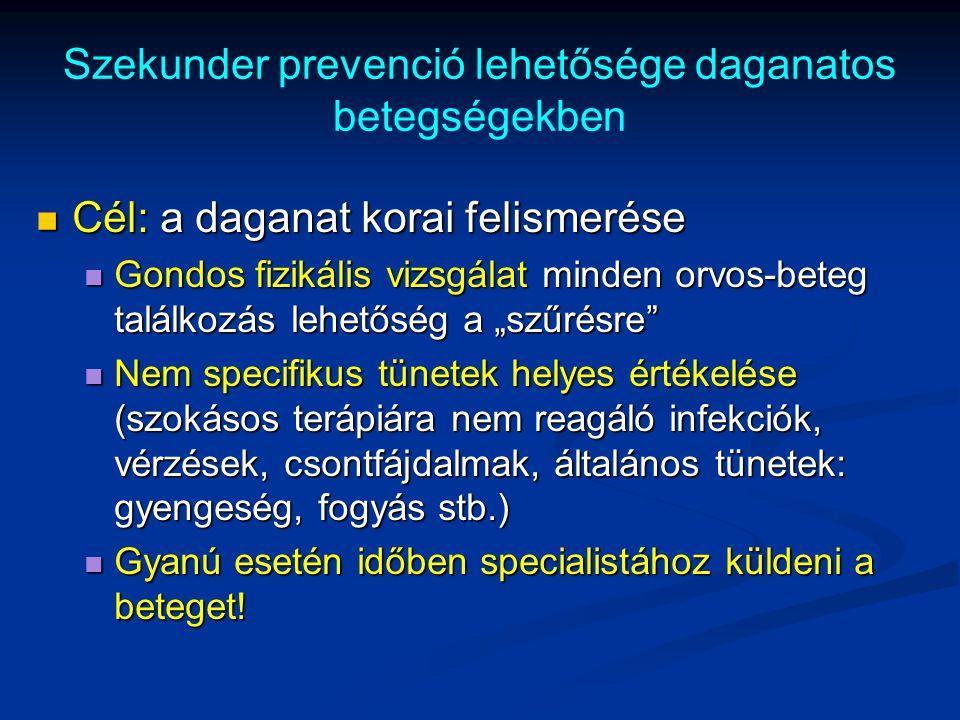 Szekunder prevenció lehetősége daganatos betegségekben