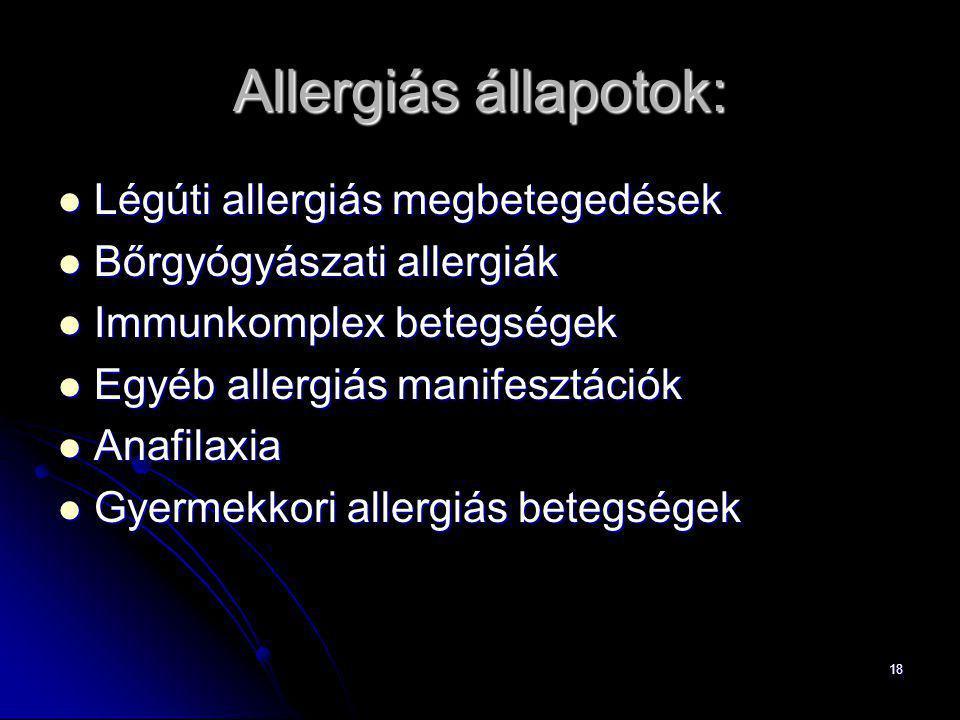 Allergiás állapotok: Légúti allergiás megbetegedések