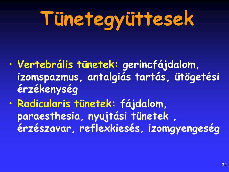 Tünetegyüttesek Vertebrális tünetek: gerincfájdalom, izomspazmus, antalgiás tartás, ütögetési érzékenység.