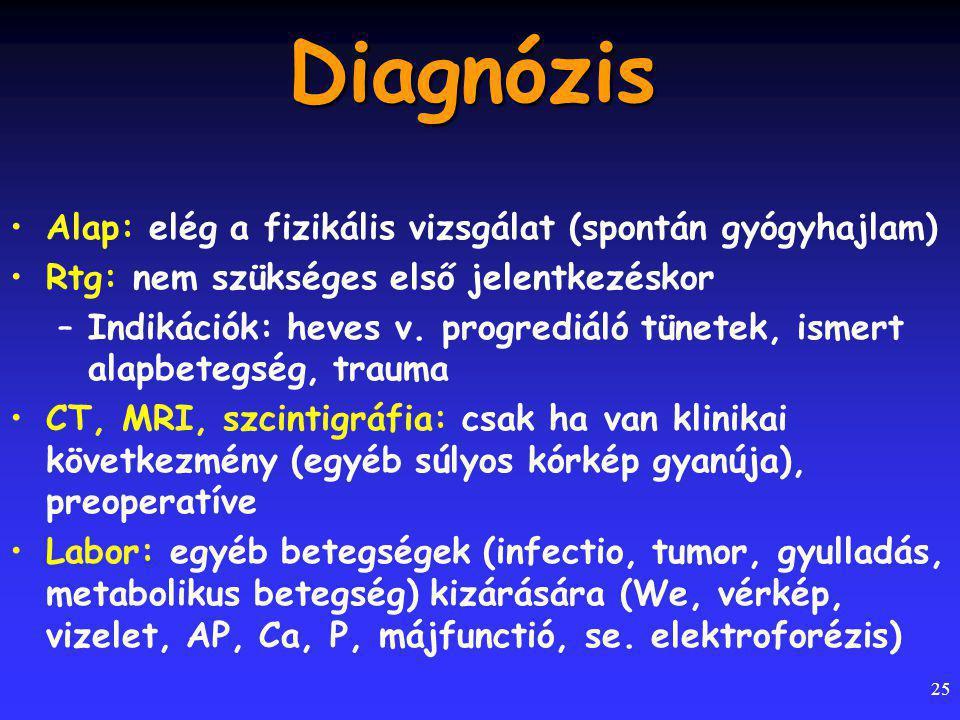 Diagnózis Alap: elég a fizikális vizsgálat (spontán gyógyhajlam)