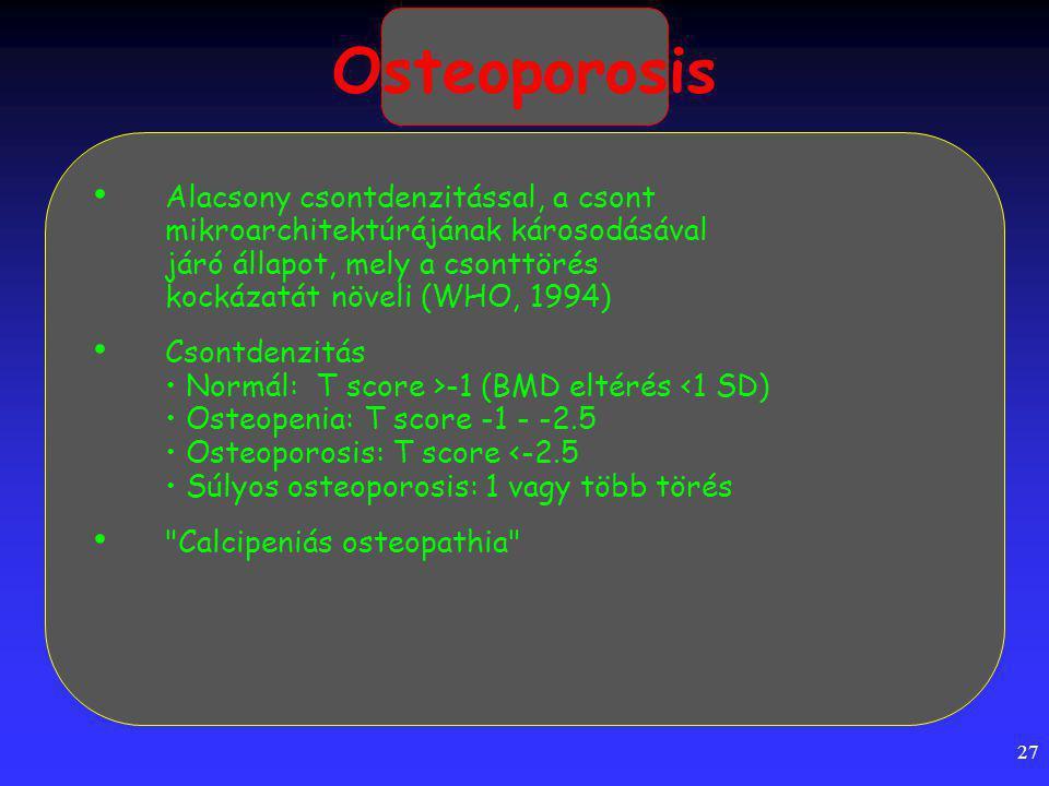 Osteoporosis Alacsony csontdenzitással, a csont mikroarchitektúrájának károsodásával járó állapot, mely a csonttörés kockázatát növeli (WHO, 1994)