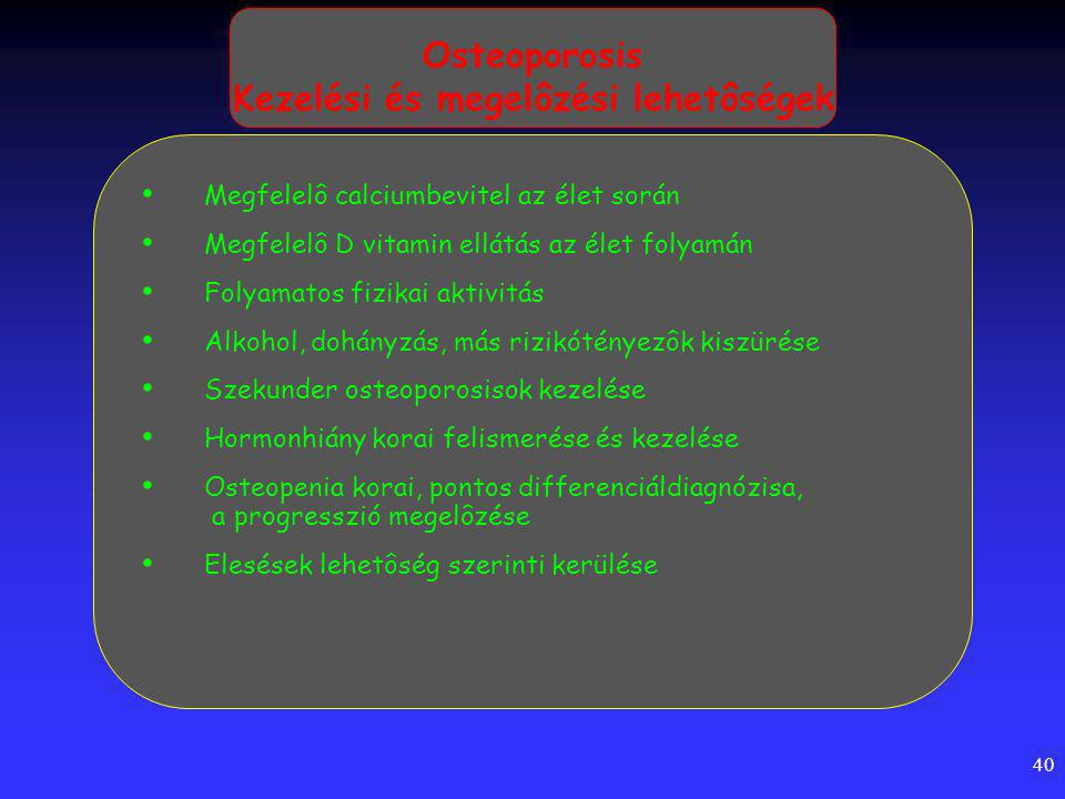 Osteoporosis Kezelési és megelôzési lehetôségek