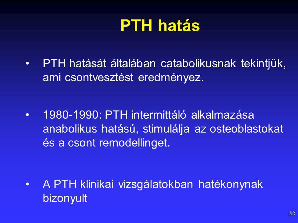 PTH hatás PTH hatását általában catabolikusnak tekintjük, ami csontvesztést eredményez.