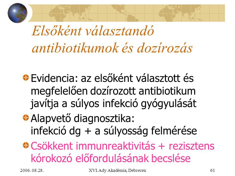 Elsőként választandó antibiotikumok és dozírozás