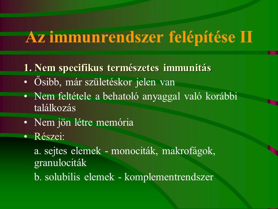 Az immunrendszer felépítése II
