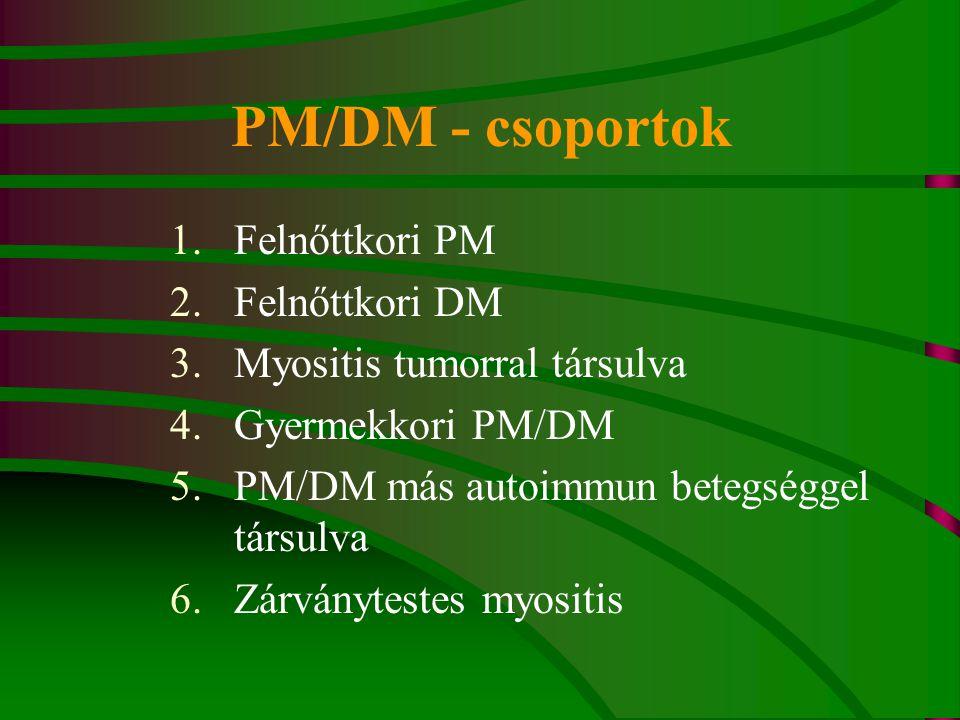 PM/DM - csoportok Felnőttkori PM Felnőttkori DM