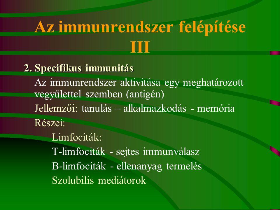 Az immunrendszer felépítése III
