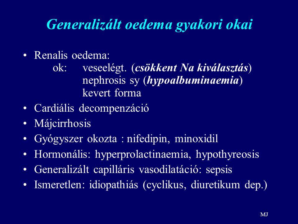 Generalizált oedema gyakori okai