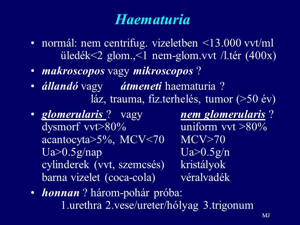 Haematuria normál: nem centrifug. vizeletben <13.000 vvt/ml üledék<2 glom.,<1 nem-glom.vvt /l.tér (400x)