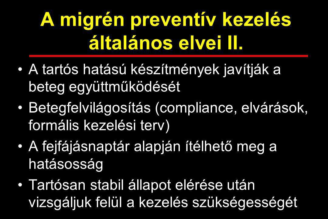 A migrén preventív kezelés általános elvei II.