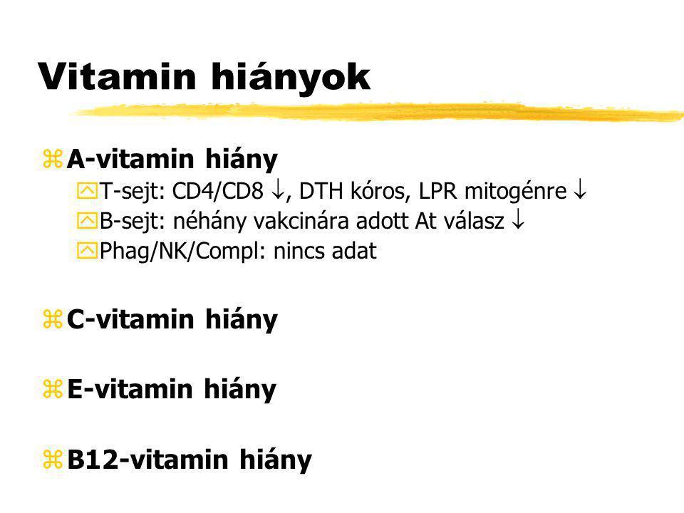 Vitamin hiányok A-vitamin hiány C-vitamin hiány E-vitamin hiány