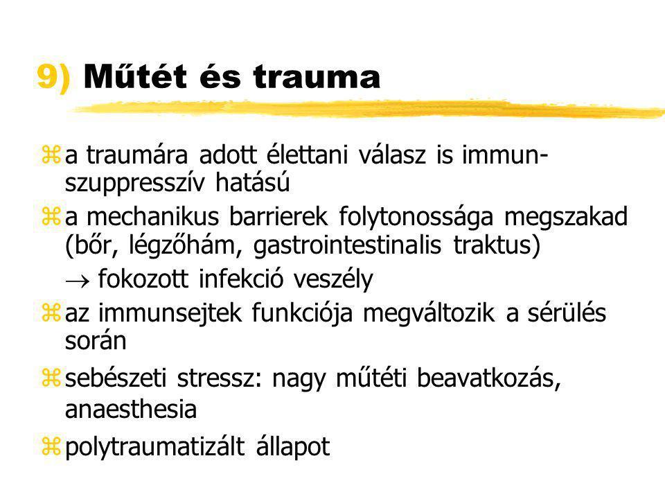 9) Műtét és trauma a traumára adott élettani válasz is immun-szuppresszív hatású.