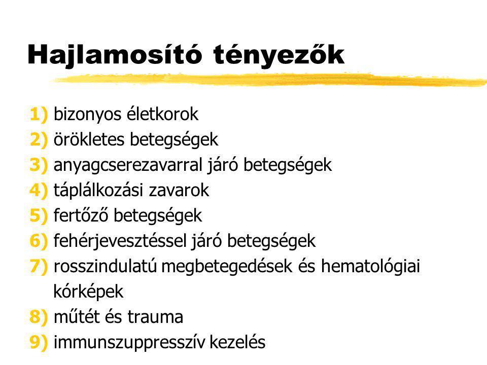 Hajlamosító tényezők 1) bizonyos életkorok 2) örökletes betegségek