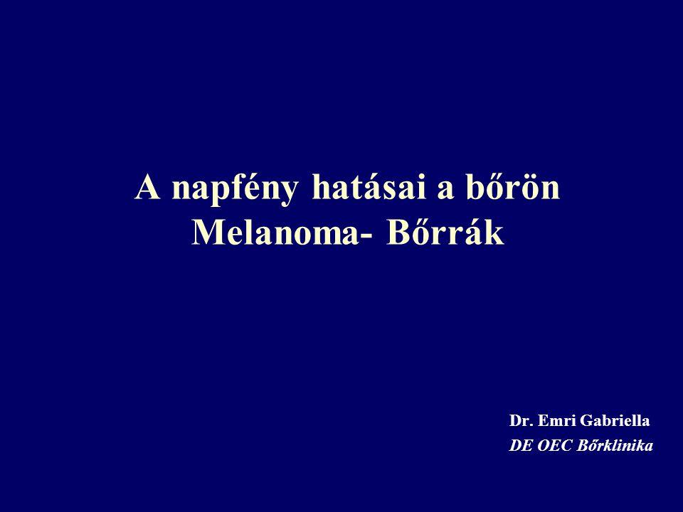 A napfény hatásai a bőrön Melanoma- Bőrrák