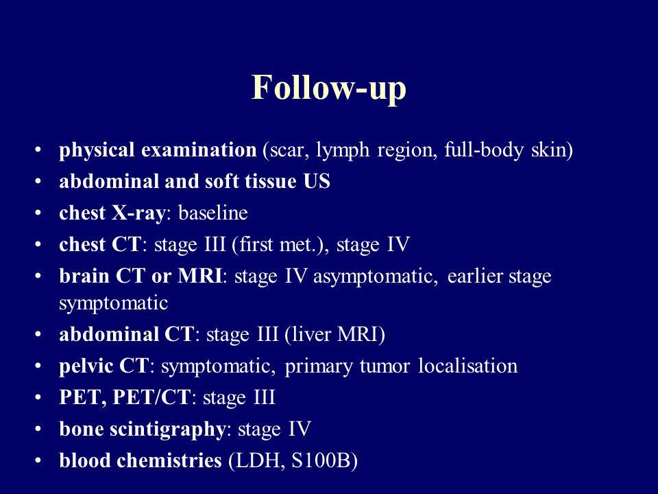 Follow-up physical examination (scar, lymph region, full-body skin)