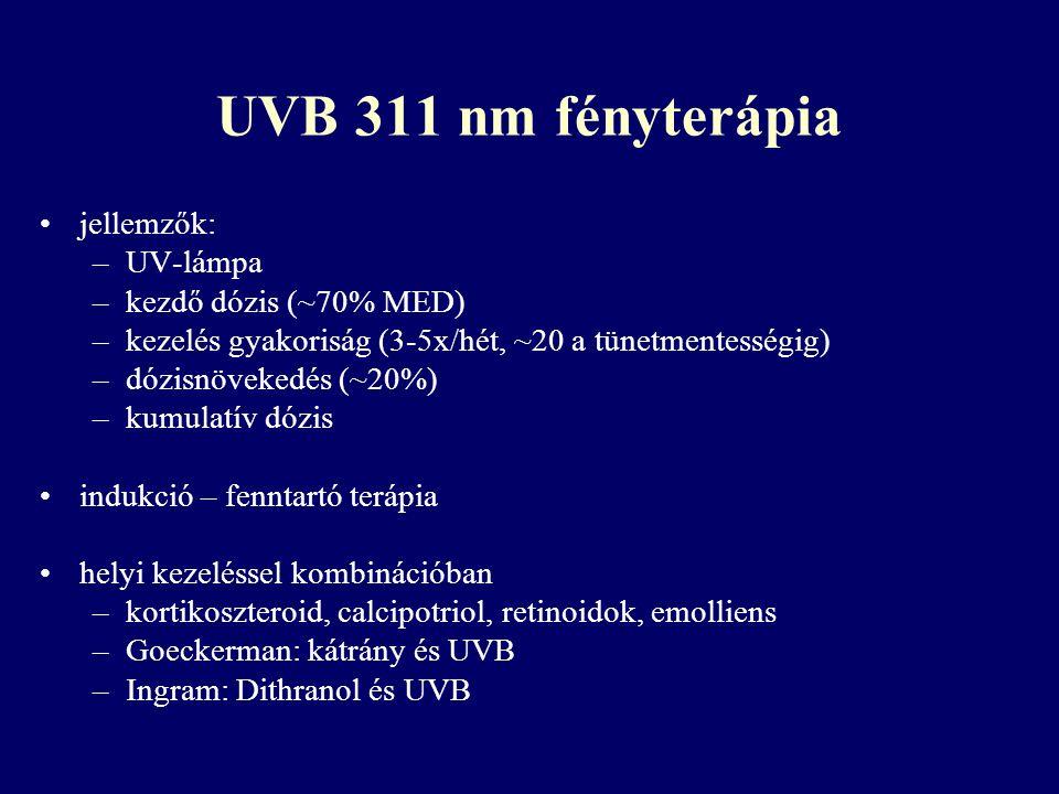 UVB 311 nm fényterápia jellemzők: UV-lámpa kezdő dózis (~70% MED)