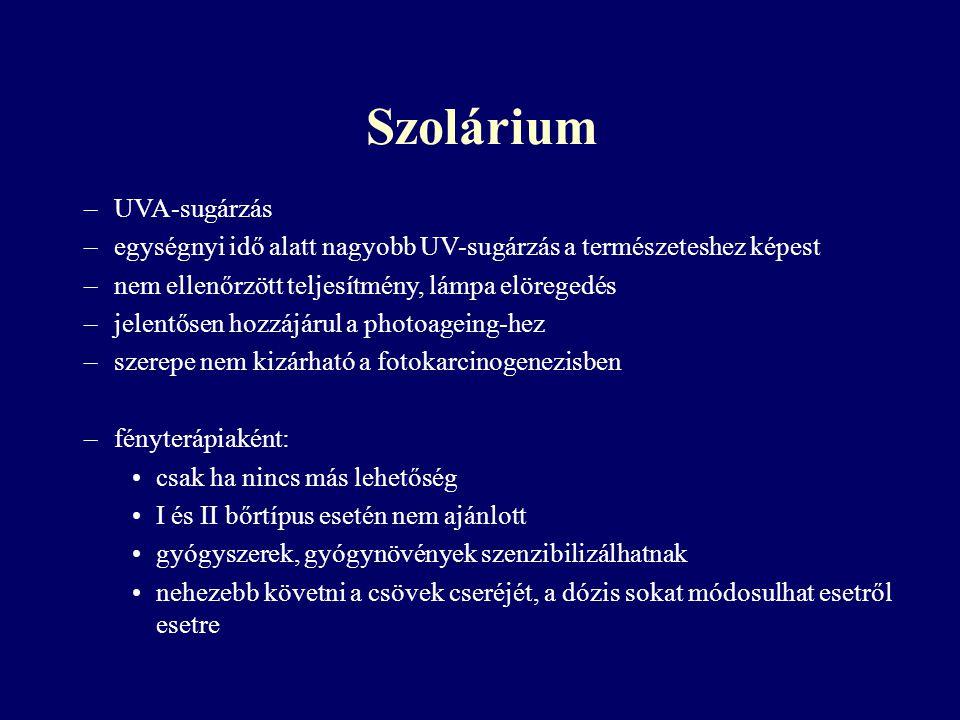 Szolárium UVA-sugárzás