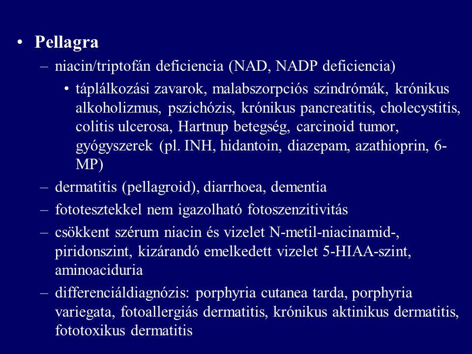 Pellagra niacin/triptofán deficiencia (NAD, NADP deficiencia)