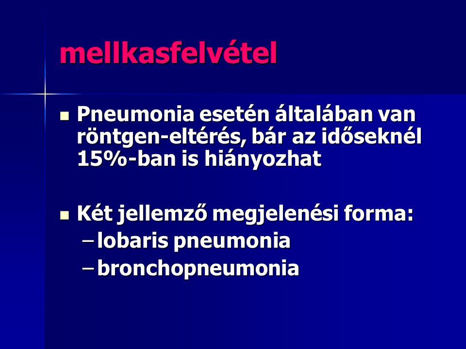 mellkasfelvétel Pneumonia esetén általában van röntgen-eltérés, bár az időseknél 15%-ban is hiányozhat.