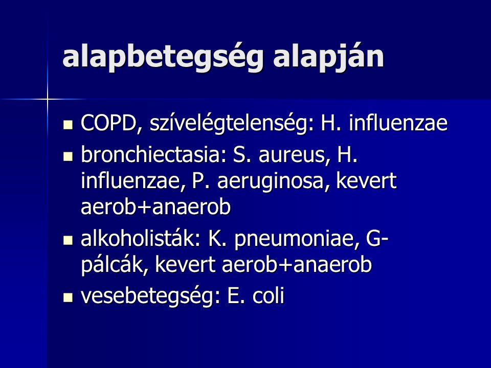 alapbetegség alapján COPD, szívelégtelenség: H. influenzae