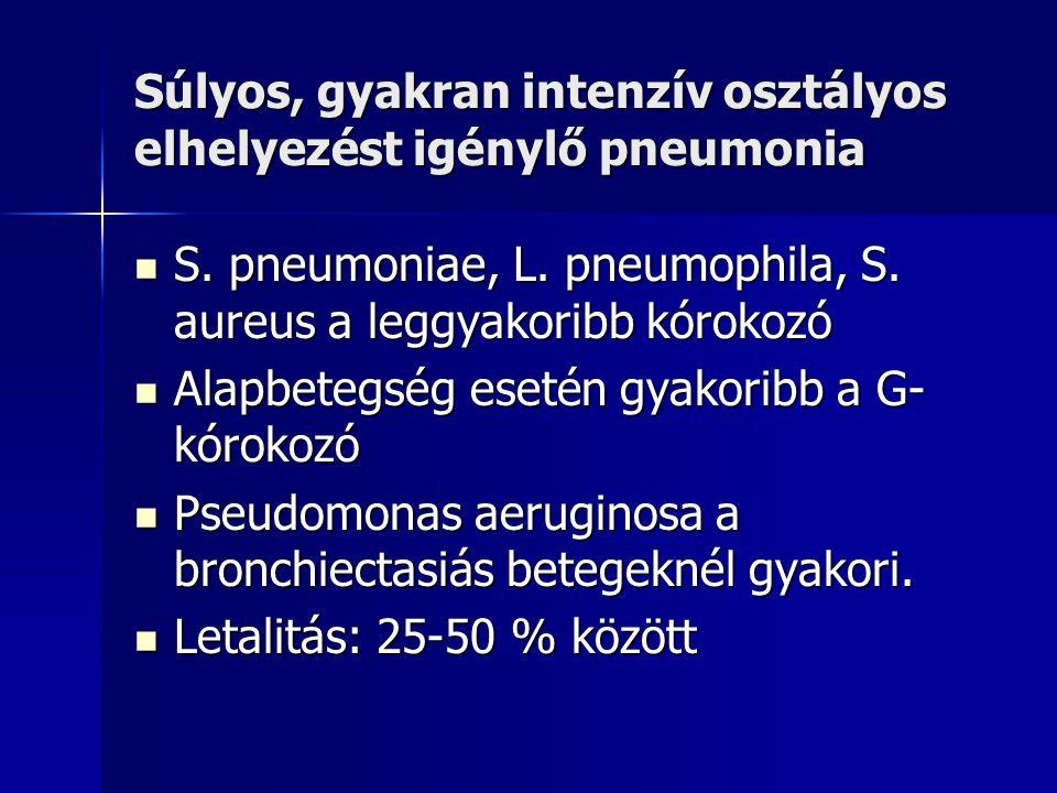 Súlyos, gyakran intenzív osztályos elhelyezést igénylő pneumonia