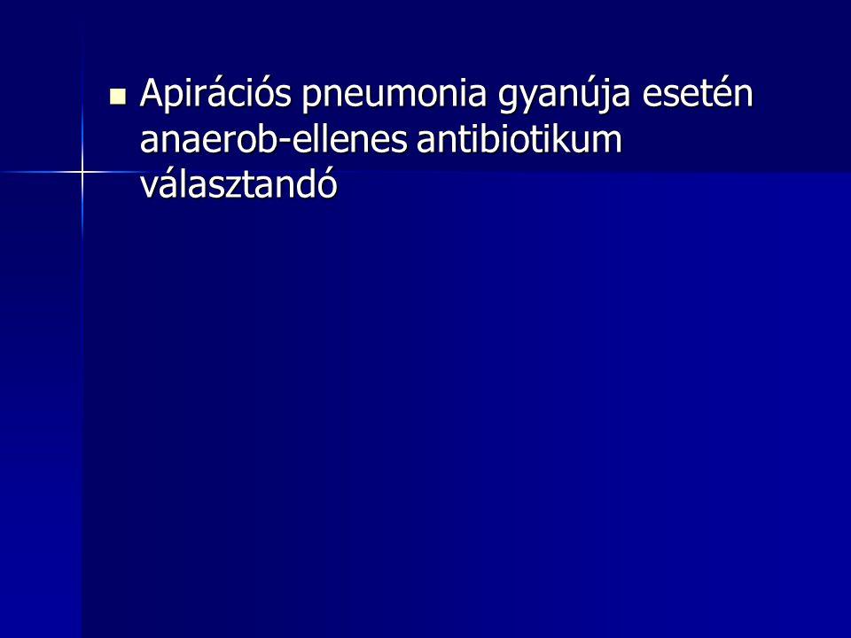 Apirációs pneumonia gyanúja esetén anaerob-ellenes antibiotikum választandó