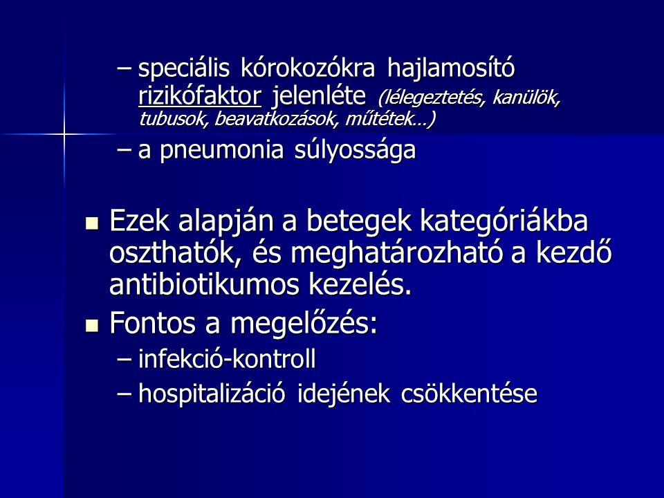 speciális kórokozókra hajlamosító rizikófaktor jelenléte (lélegeztetés, kanülök, tubusok, beavatkozások, műtétek…)