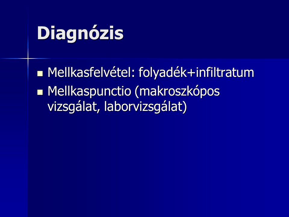 Diagnózis Mellkasfelvétel: folyadék+infiltratum