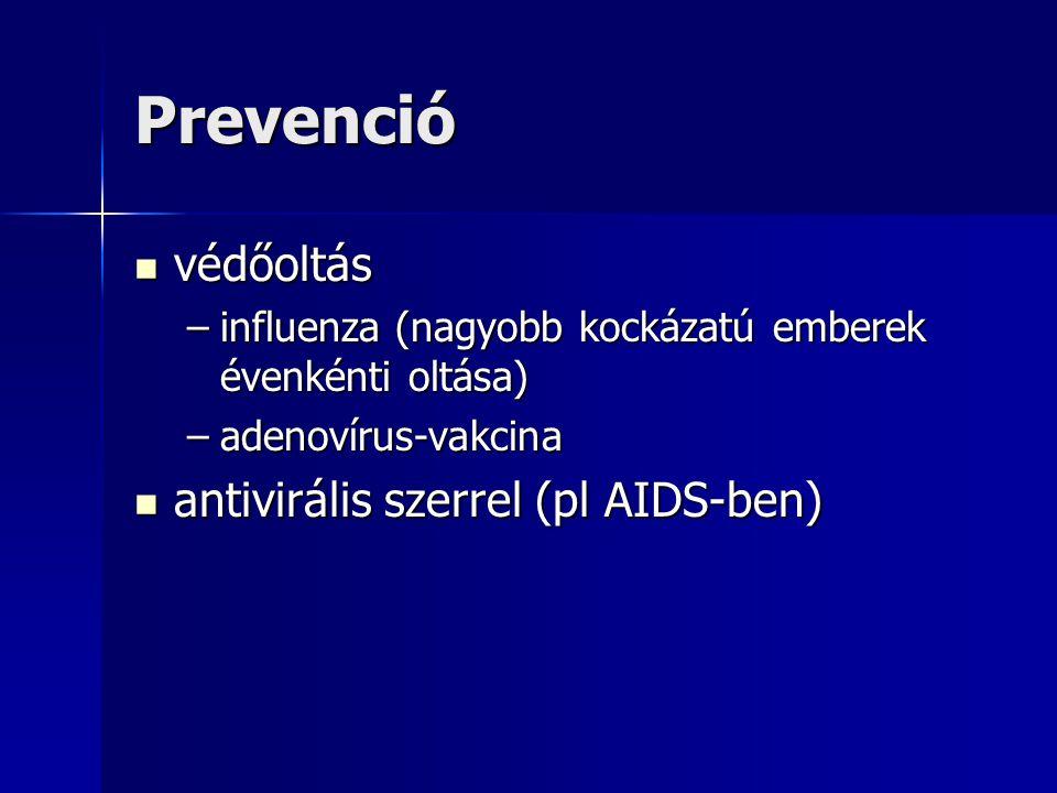 Prevenció védőoltás antivirális szerrel (pl AIDS-ben)