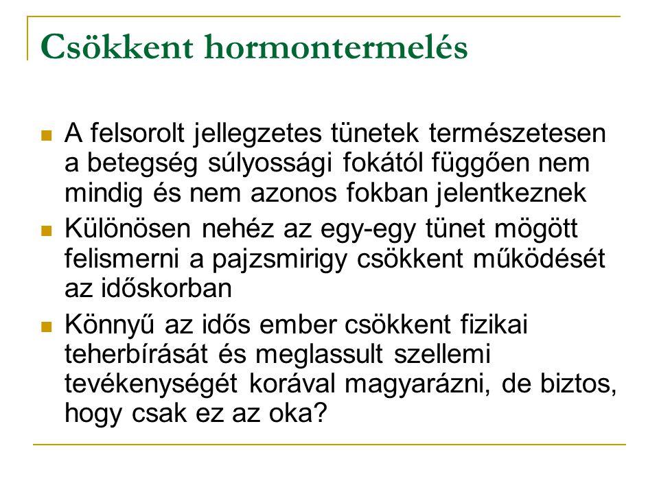 Csökkent hormontermelés