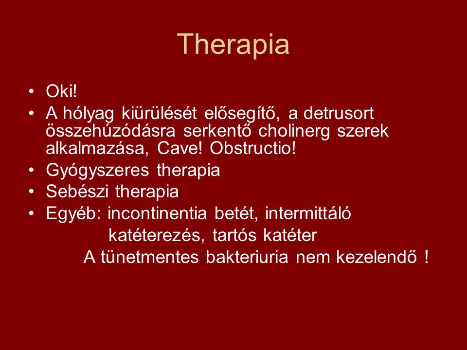 Therapia Oki! A hólyag kiürülését elősegítő, a detrusort összehúzódásra serkentő cholinerg szerek alkalmazása, Cave! Obstructio!