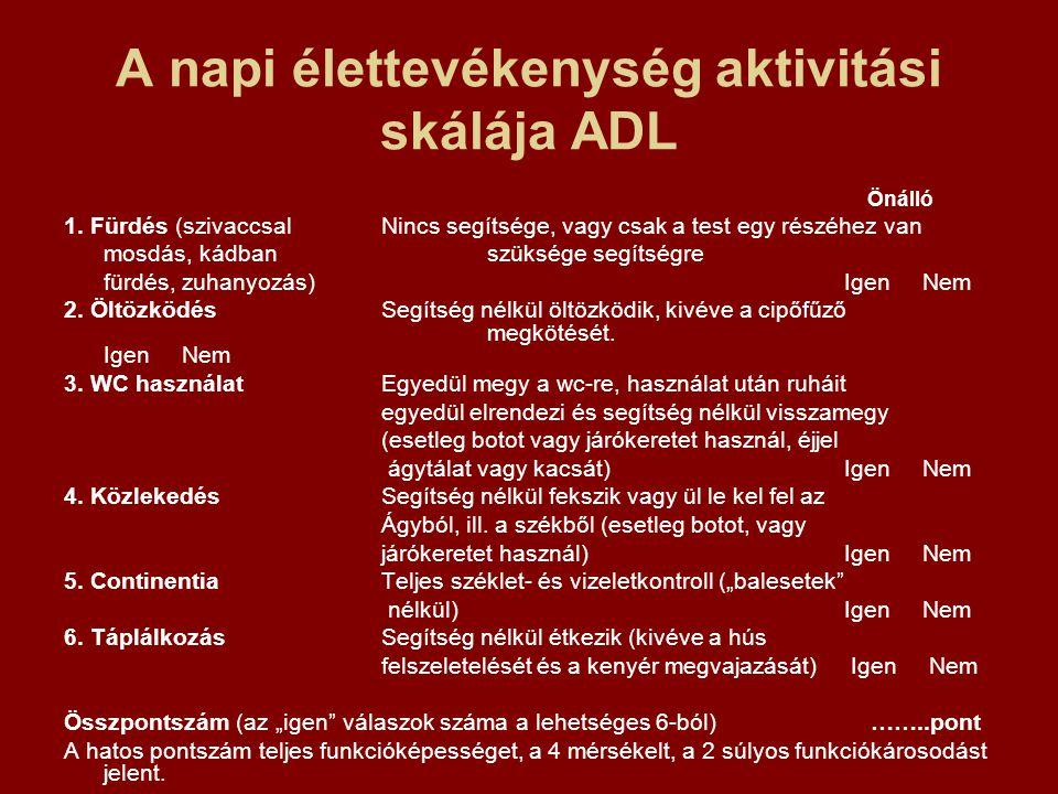 A napi élettevékenység aktivitási skálája ADL