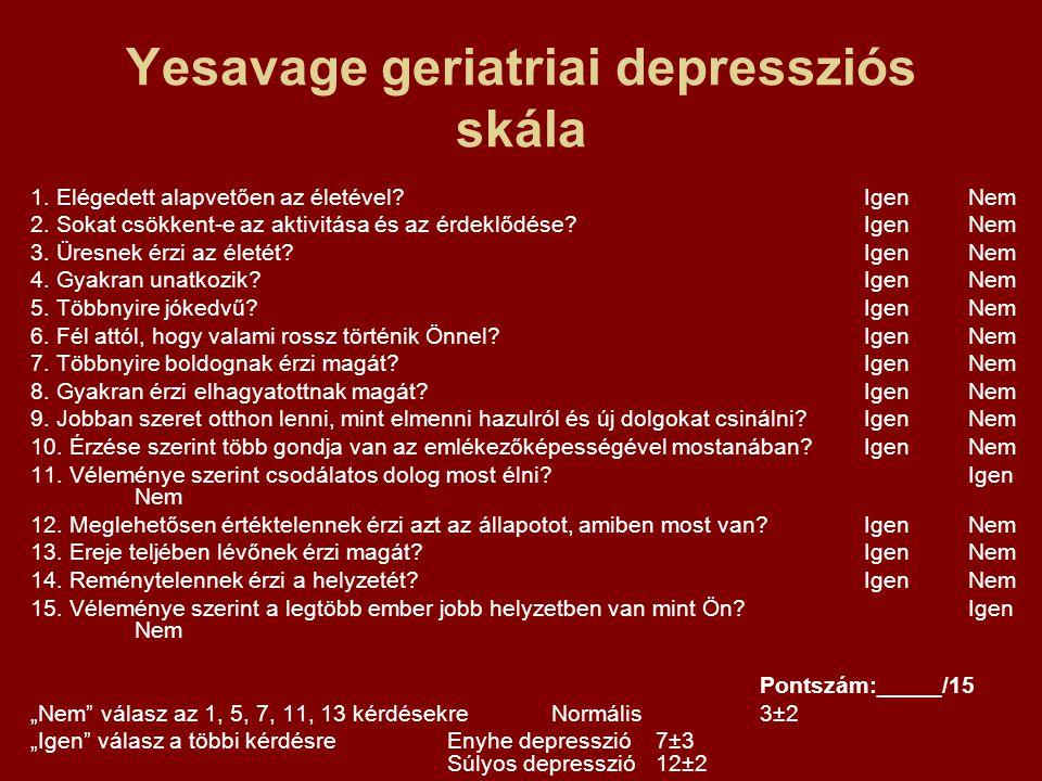 Yesavage geriatriai depressziós skála