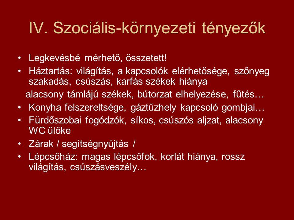 IV. Szociális-környezeti tényezők